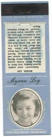 Myrna Loy 1930s Diamond Match Matchbook Cover