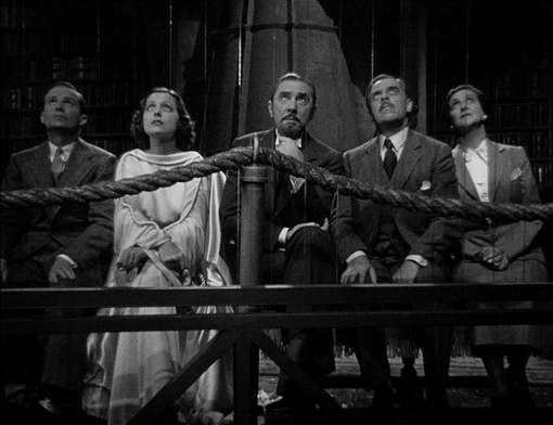 The other 5 main cast members watch as Karloff's Dr. Rukh take them back in time.  From left to right: Frank Lawton, Frances Drake, Bela Lugosi, Walter Kingsford and Beulah Bondi