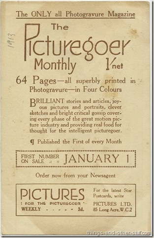 Picturegoer Advertising Promotional Card