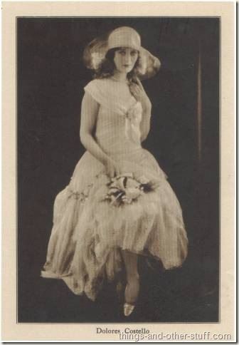 Dolores Costello pictured on a mid-1920's paper premium issued by Motion Picture Magazine