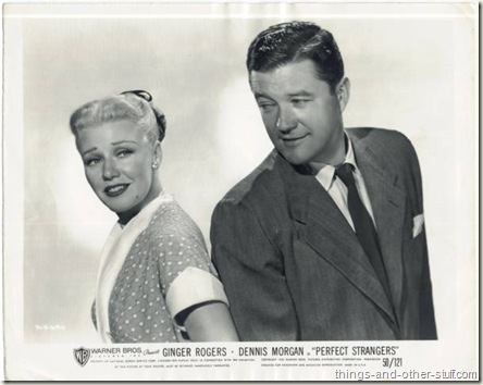 Ginger Rogers with Dennis Morgan on a 1950 still photo for Perfect Strangers