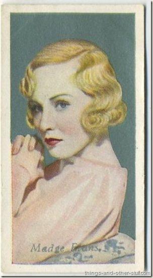 Madge Evans 1934 Godfrey Phillips Film Favourites tobacco card