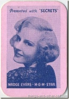 Madge Evans 1935 Secrets Magazine mini-playing card