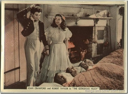 Robert Taylor with Joan Crawford in The Gorgeous Hussy on a 1936 Ardath From Stage and Screen tobacco card