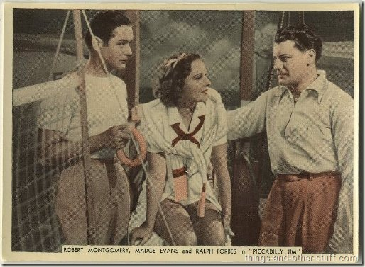 Madge Evans with Robert Montgomery and Ralph Forbes in Piccadilly Jim on a 1936 Ardath tobacco card