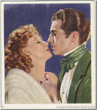 1939 Godfrey Phillips Famous Love Scenes tobacco card featuring Taylor with Greta Garbo in Camille