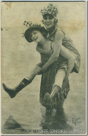 Phyllis Haver and Gloria Swanson 1920s Mack Sennett Comedies Arcade Card