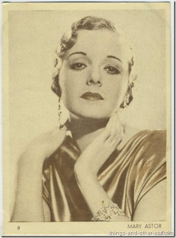 Mary Astor on a 1930s tobacco premium from Uruguay