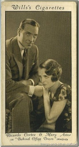 Mary Astor with Ricardo Cortez in Behind Office Doors on a 1931 Wills tobacco card