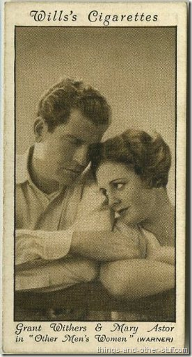Mary Astor with Grant Withers in Other Mens Women on a 1931 Wills tobacco card