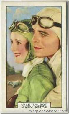 Mary Astor with Lyle Talbot on a 1935 Gallaher tobacco card