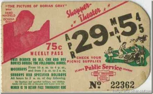 Donna Reed and Hurd Hatfield in The Picture of Dorian Gray promoted on a St Louis area bus pass dated the week of April 29 1945