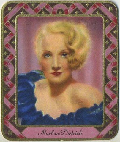 Marlene Dietrich 1930s Garbety Tobacco Card