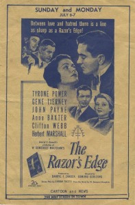 1947 Movie Theater Program Advertising The Razors Edge