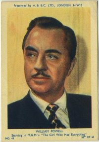 William Powell 1953 A and BC Trading Card