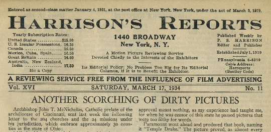 Harrisons Reports March 17 1934