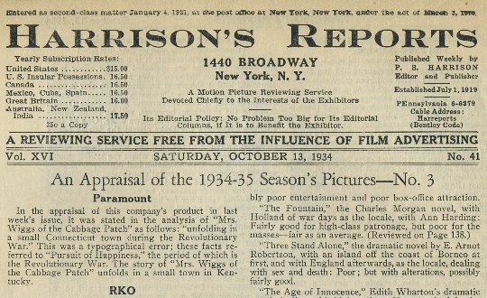 Harrisons Reports October 13 1934