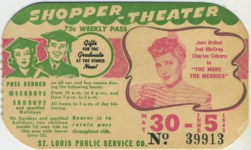 Jean Arthur St Louis area bus pass for week of May 30 1943