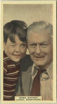 Bobs Watson and Lionel Barrymore 1939 A and M Wix Tobacco Card