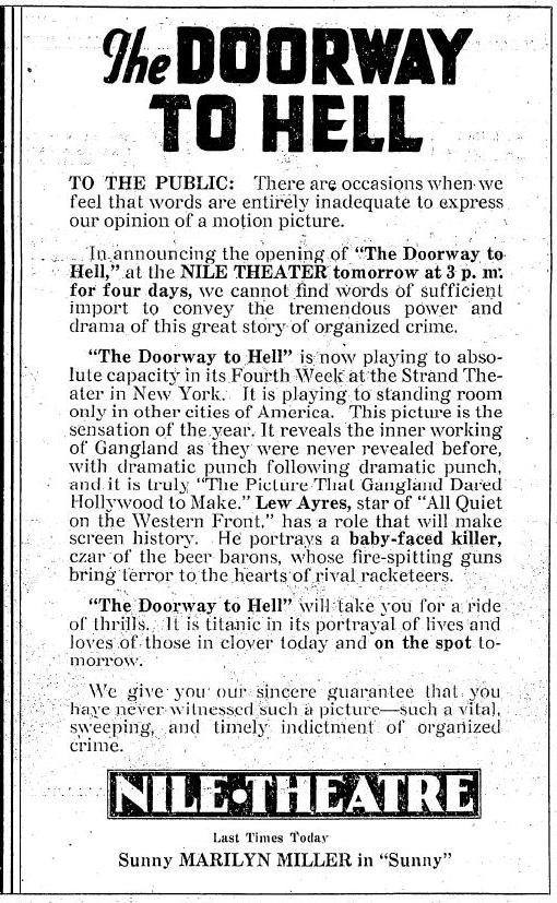 Wordy ad for The Doorway to Hell