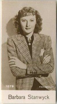 Barbara Stanwyck 1940 De Beukelaer trading card