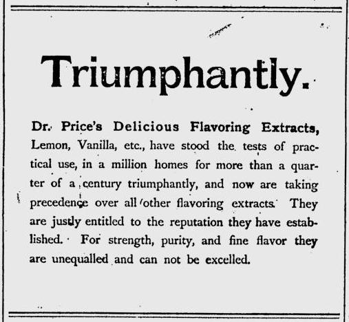 Dr. Price's Triumphantly ad, 1891