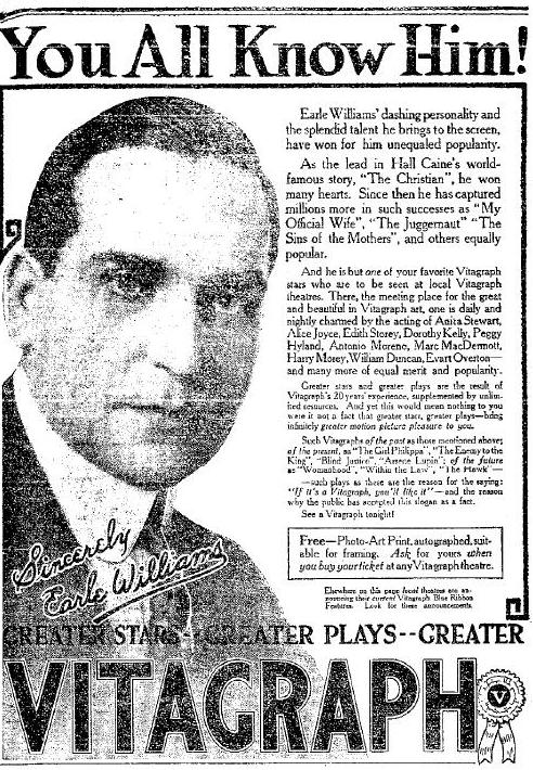 March 1917 Earle Williams advertisement