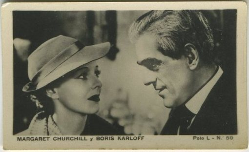 Boris Karloff and Marguerite Churchill 1938 Polo L Tobacco Card