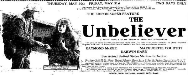1918 newspaper ad for The Unbeliever