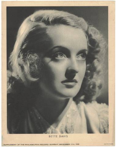 Bette Davis pictured on a Philadelphia Record Supplement Photo dated December 11, 1938