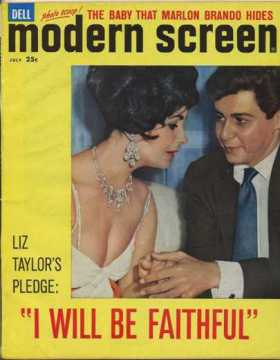 Modern Screen Magazine, also July 1959 carries the headline Liz Taylor's Pledge - I Will Be Faithful