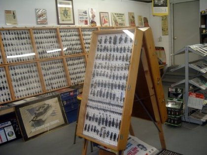 Some of Joe's spark plug displays with the older, larger style plugs front and center