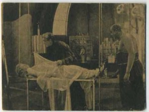 Marion Davies in a scene from The Young Diana on a circa 1922 Susini y Bock Ovaldos tobacco card issued by Henry Clay and Bock Co., Ltd. - From Cuba
