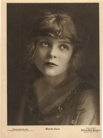 Blanche Sweet on a 1916 St. Louis Globe - Democrat Water Color Company Premium