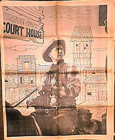 Jimmy Stewart as cowboy on huge poster issued with the Chicago American in 1968