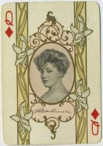 Lillian Russell pictured on a 1908 Playing Card