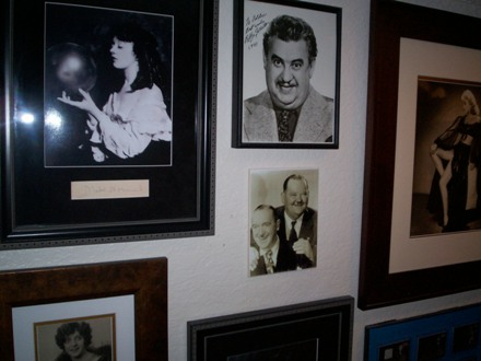 This first photo shows various framed publicity stills with signatures – the lady on the left is Mabel Normand, in the middle is Billy Gilbert, on the right (and almost out of the picture) is Marguerite Roach – Hal Roach's 1st wife – partially obscured in the lower left is Martha Sleeper.