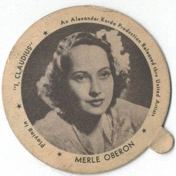 Merle Oberon on a Dixie Lid promoting I, Claudius
