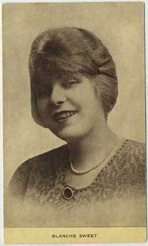 Blanche Sweet featured on a postcard issued out of New York by Kraus Manufacturing Company. Dates from approximately 1912-1915 era, early.