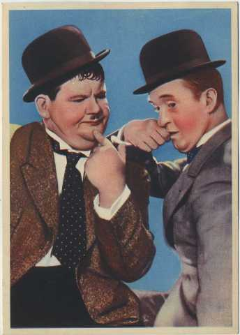 Circa 1936-37 Large 4.5 X 6.25 Nestle's Card featuring Laurel and Hardy