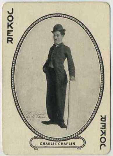 Charlie Chaplin MJ Moriarty Playing Card from the Movie Souvenir Card Co. out of Cincinnati, Ohio. Copyright 1916.
