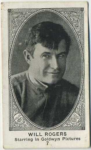 Will Rogers 1921 E123 American Caramel Trading Card