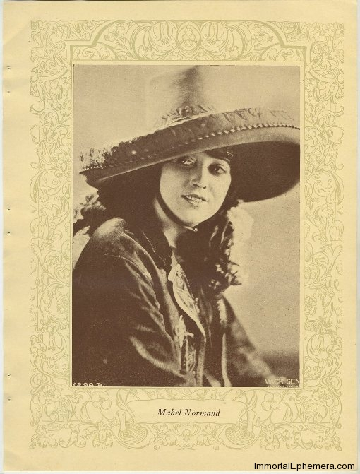 Mabel Normand printed portrait photo from 1923 Portrait Gallery of Popular Film Folk