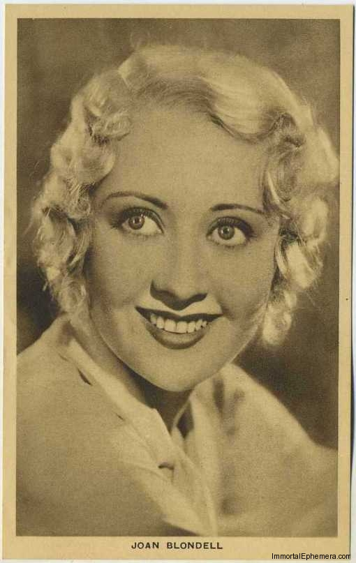 Joan Blondell circa 1932 Boys Cinema 3.5 X 5.5 Trading Card #9