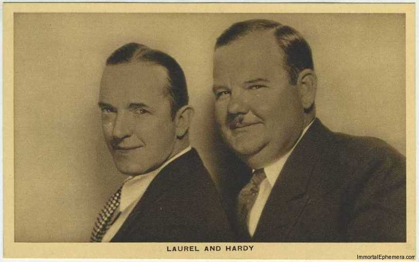 Stan Laurel and Oliver Hardy circa 1932 Boys Cinema 3.5 X 5.5 Trading Card #11