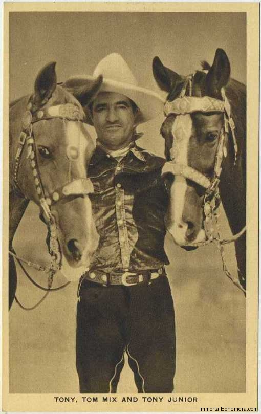 Tom Mix with Tony and Tony Jr. on circa 1932 Boys Cinema 3.5 X 5.5 Trading Card #6