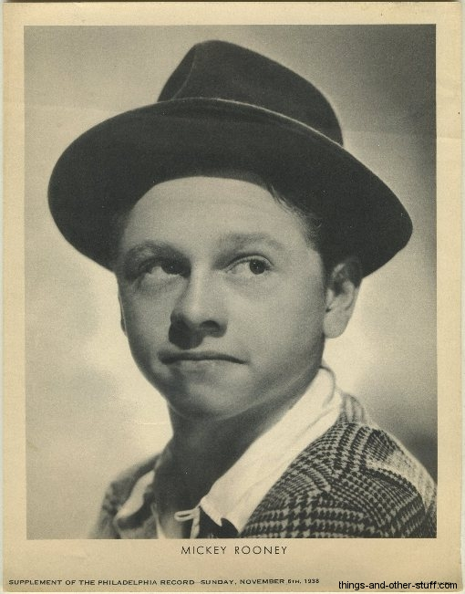 Mickey Rooney Philadelphia Record Newspaper Supplement dated November 6, 1938