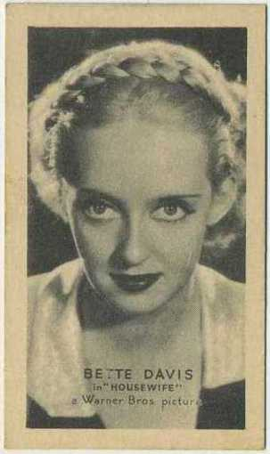 Bette Davis 1934 Golden Grain Motion Picture Stars Tobacco Card