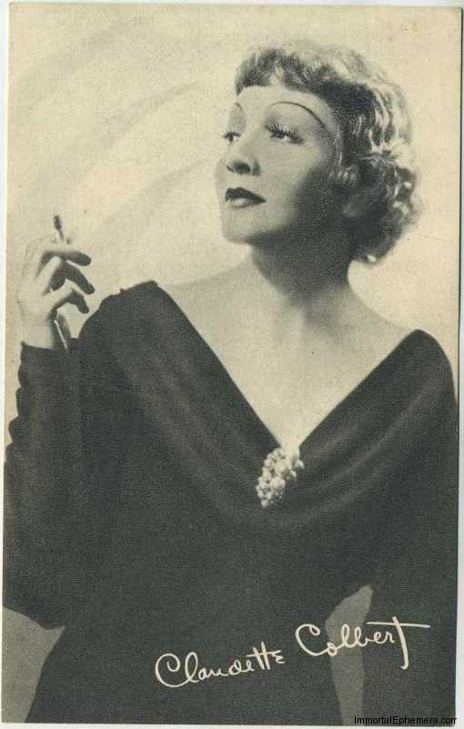 Claudette Colbert circa 1935 Boys Cinema Real Photogravure Portrait Postcard #10