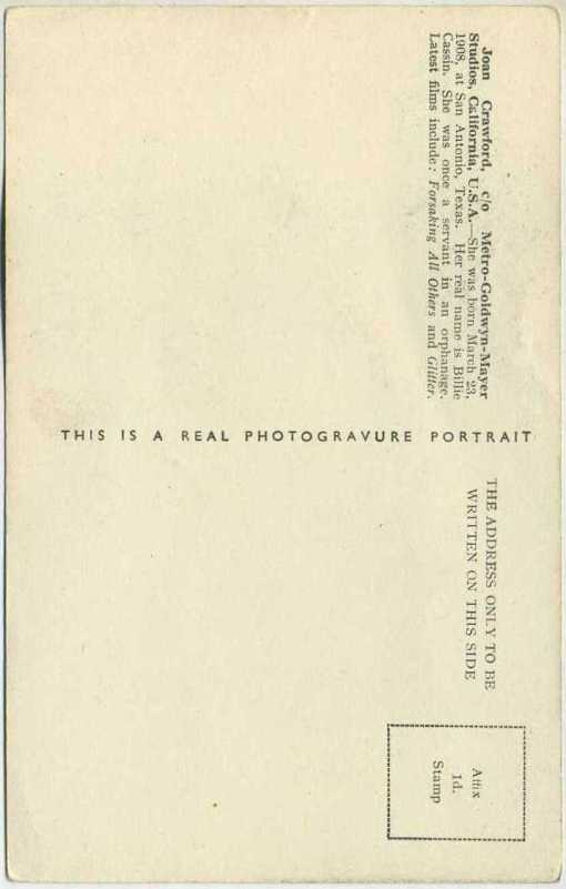 Reverse side of Joan Crawford circa 1935 Boys Cinema Real Photogravure Portrait Postcard #1